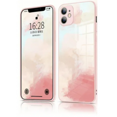 Watercolor Design Glass Panel + TPU Edge Case for iPhone 11 - Cherry Pink
